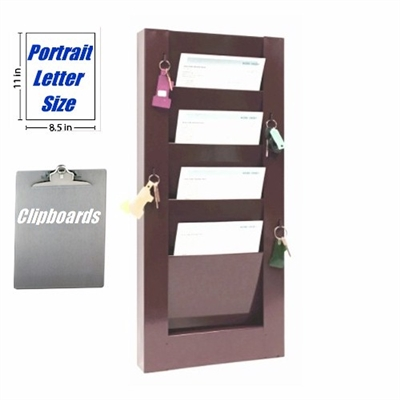 Key Hook Clipboard Rack 4 Pockets 9 1 2 Quot W X 8 Quot D 800