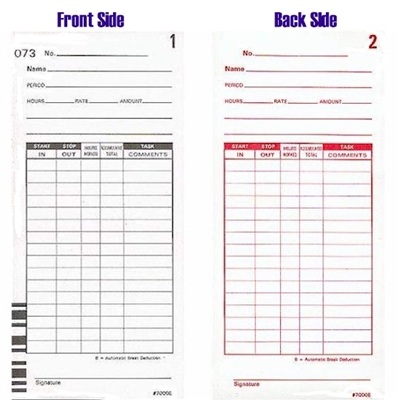 FORM 7000E Time Cards