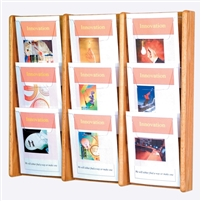 9 Pocket Oak & Acrylic Literature Display, Model ET-AC26-9