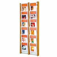 12 Pocket Oak & Acrylic Literature Display, Model ET-AC48-12