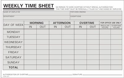 1 000 Time Sheets Handwritten Weekly M S 800 858 7462