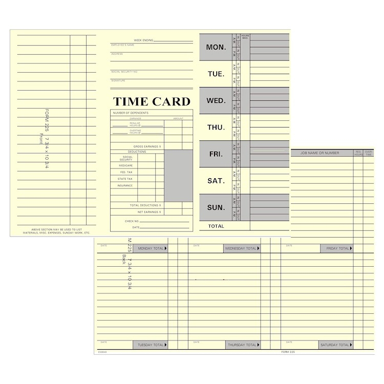 1000 Tri-Fold Weekly Time Cards- 800-858-7462