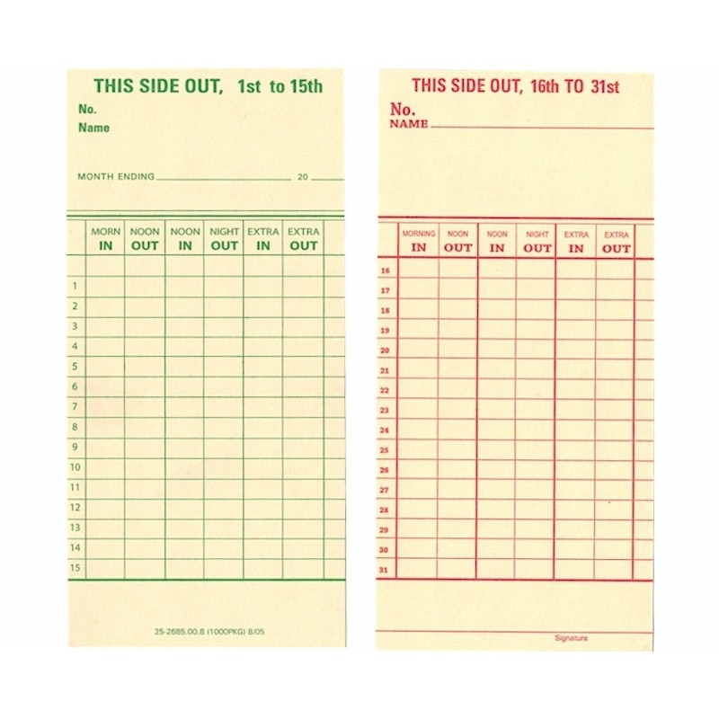 sample time cards