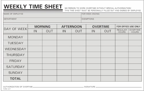 1,000 Time Sheets- Handwritten Weekly M-S- 800-858-7462
