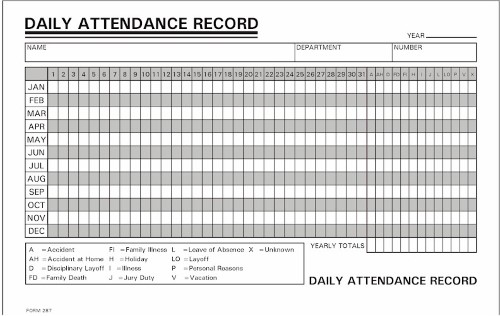 daily attendance record form  1,000 Daily Attendance Record- Annual- 800-858-7462